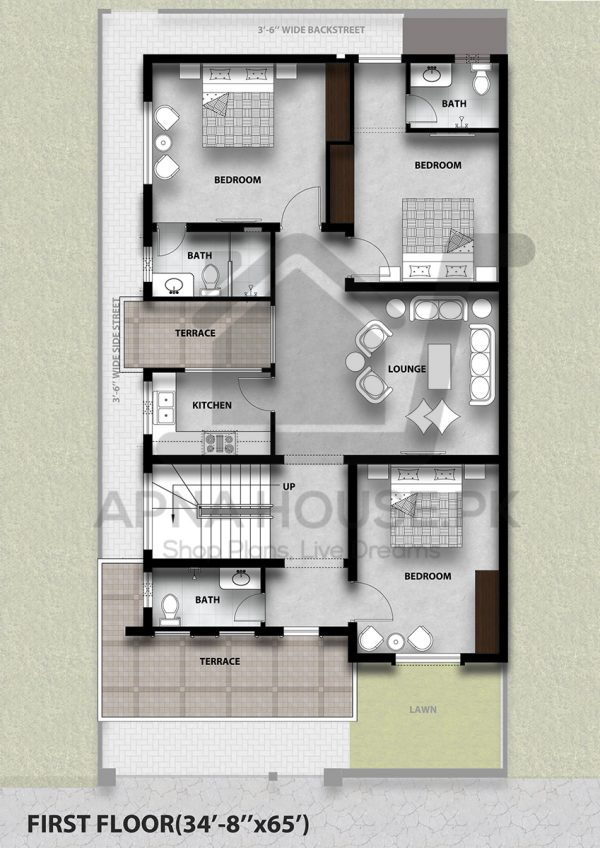 """""""Classical plan with 5 Beds & 6 Baths"""